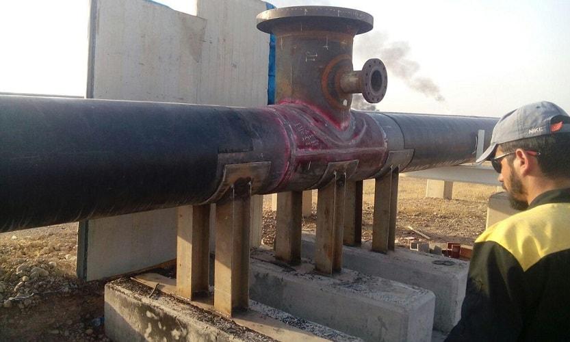 اسپلیت تی نصب شده روی خط لوله کردستان عراق اسپلیت تی ساخت اسپلیت تی انشعاب